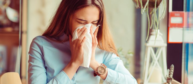 Flu.,Young,Woman,Got,Nose,Allergy,,Flu,Sneezing,Nose,Sitting